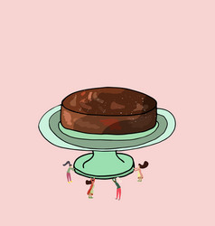 small people delivering a chocolate cake vector image