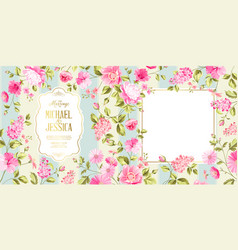 Spring syringa marriage card vector