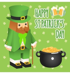 St patricks day Leprechaun in 3d flat style with vector