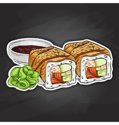 sushi color sticker Canada roll vector image