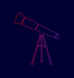 telescope simple sign line icon with vector image