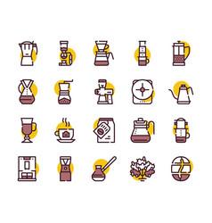 third wave alternative coffee color icon set vector image