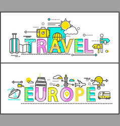 Travel to europe isolated on white colorful poster vector