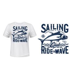 Tuna fish t-shirt print mockup fishing sport vector