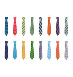 Variety ties set elegant blue striped textiles vector