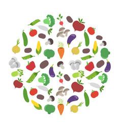 vegetable circle garden harvest round background vector image