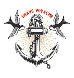 vintage anchor with swallows in engraving style vector image