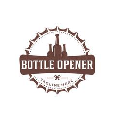 Vintage bottle opener logo vector