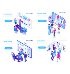Visualization banner set isometric style vector