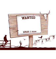 Wanted paper on wood board for text vector