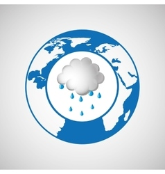 weather forecast globe rain cloud icon graphic vector image