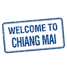 Welcome to Chiang mai blue grunge square stamp vector