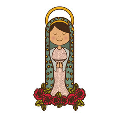 White background of virgin of guadalupe and vector
