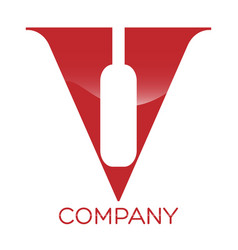 wine letter v logo vector image