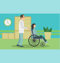 woman in a wheelchair to be released from the vector image