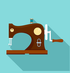 Wood sew machine icon flat style vector