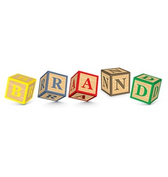Word BRAND written with alphabet blocks vector image