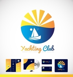 Yachting boat logo icon design vector