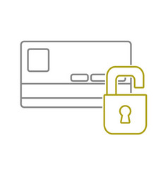 yellow line finance credit card with padlock open vector image