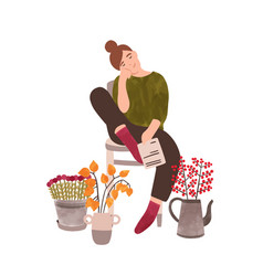 young woman with flowers flat vector image