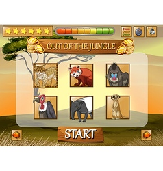 Game template with wild animals in the field vector image