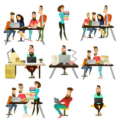 office team cartoon characters icons set vector image vector image