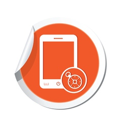 phone compass icon orange sticker vector image vector image