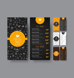 Template of the coffee menu for a cafe or vector