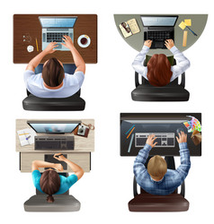 top view people set vector image vector image