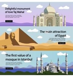 Travel banner set international culture vector