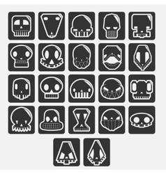 white skulls cartoon set vector image vector image