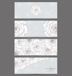 banners with beautiful roses vector image