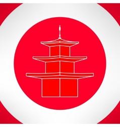 Buddhist pagoda in modern flat design vector image