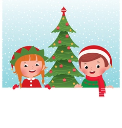 Christmas elf and Santa Claus and white banner vector image