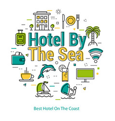 best hotel on the coast - linear concept vector image