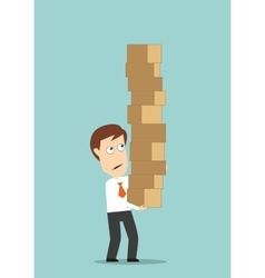 Businessman carrying a high stack of boxes vector image vector image