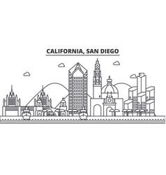 california san diego architecture line skyline vector image