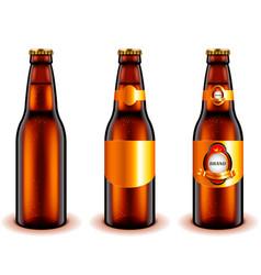 dark beer bottle design 3d realistic vector image vector image