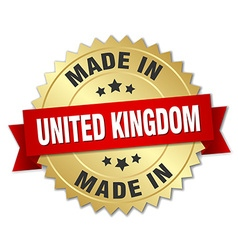 made in United Kingdom gold badge with red ribbon vector image vector image