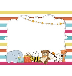 Pretty frame on color lines template for baby vector image vector image