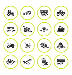 set round icons of agricultural machinery vector image vector image
