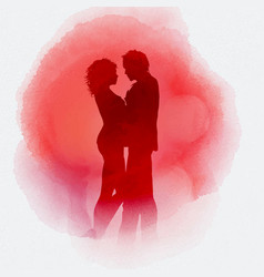 valentines day couple on watercolour background vector image vector image