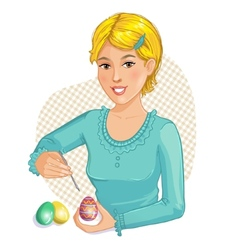 Cute cartoon girl coloring Easter eggs vector image
