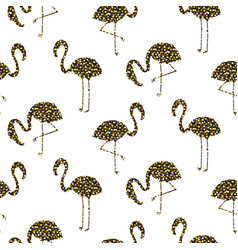 Flamingo gold glitter silhouette seamless vector