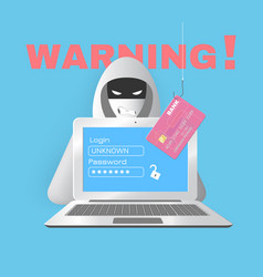 hacker with computer and credit card vector image