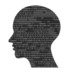 head silhouette with binary code vector image