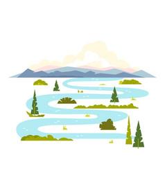 meandering river landscape vector image