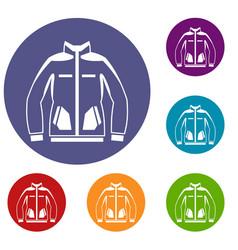 men winter jacket icons set vector image vector image