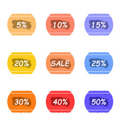 sale and percentage tear sticker with ink label vector image vector image