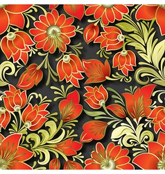 seamless red floral ornament on black background vector image vector image